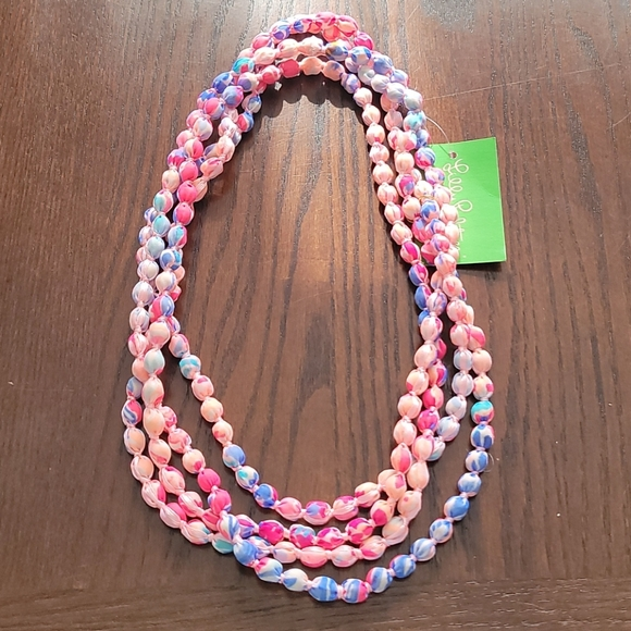 Lilly Pulitzer fabric ball necklace